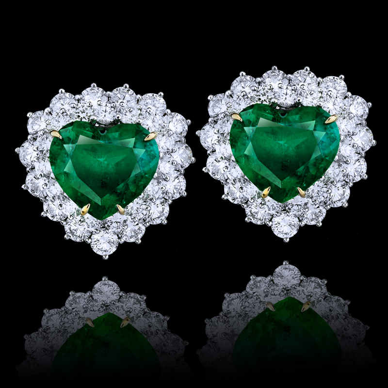 View 17 84ct Heart Shape Emerald Earrings